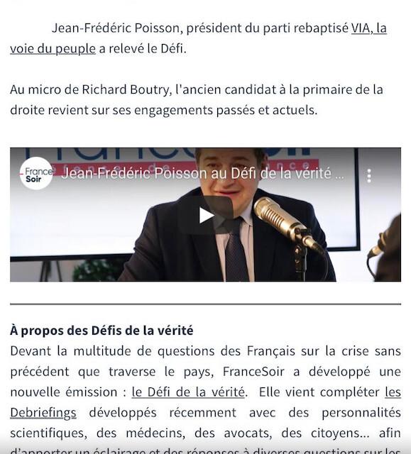 mon invité sur France Soir: JP Poisson appelle à la désobéissance civile!