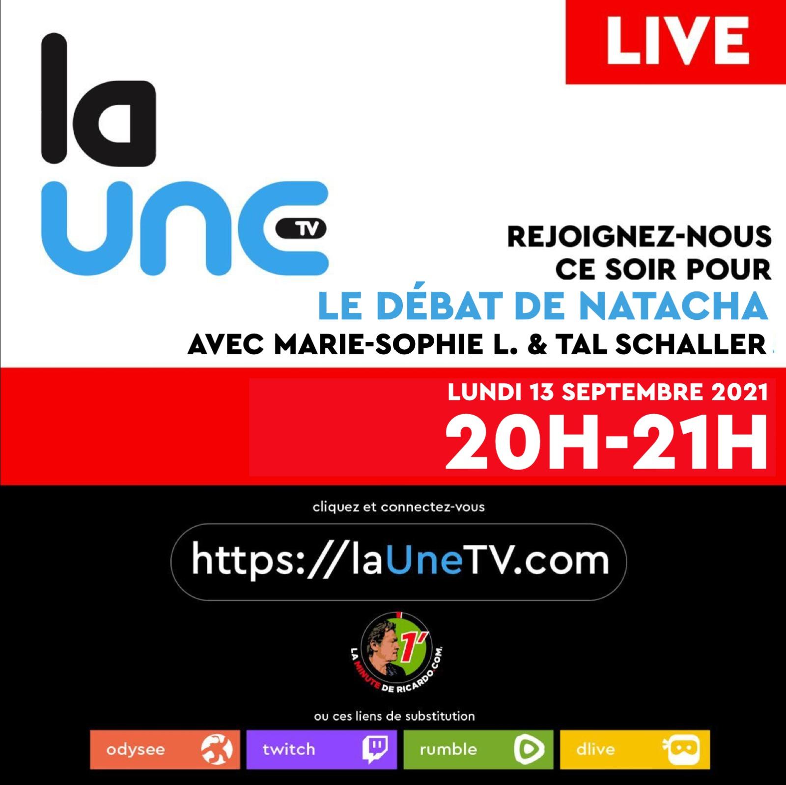 Rejoignez-nous ce soir de 20H à 21H pour le débat de Natacha